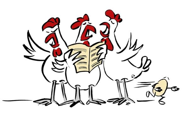 Singende Hühner zu Weihnachten